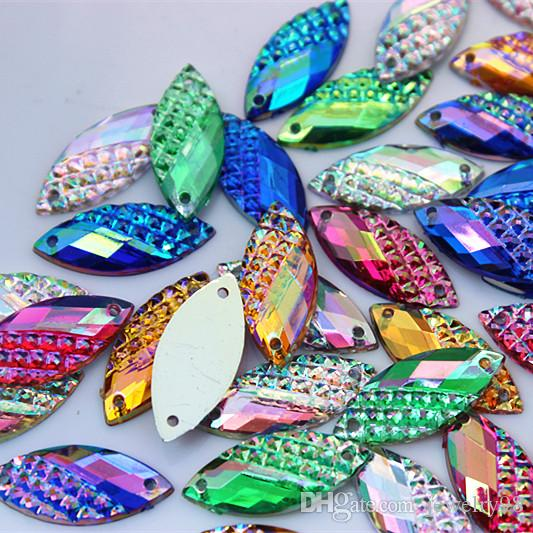 10*23mm AB Crystal Horse Eye Acrylic Rhinestones Sew On Flat back Beads Sewing Buttons 2 hole ZZ46