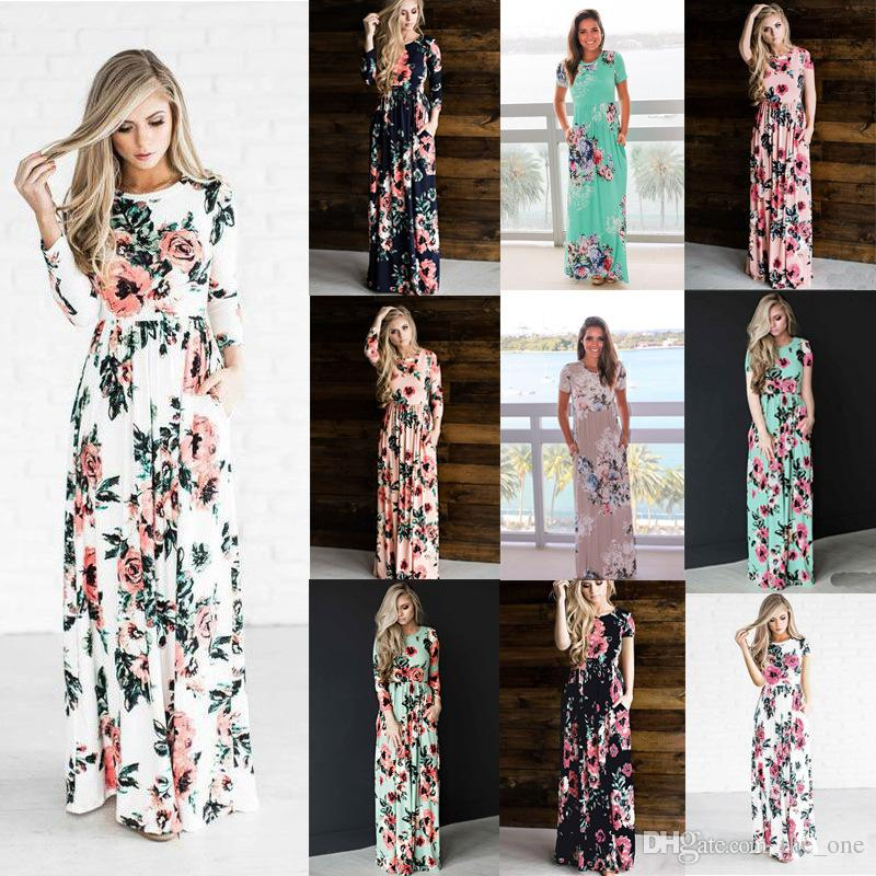 9eb4309af75 2019 Spring Summer Floral Printed Boho Dresses Women Beach Bohemian Long Beach  Dress Vintage Maxi Maternity Dresses From The one