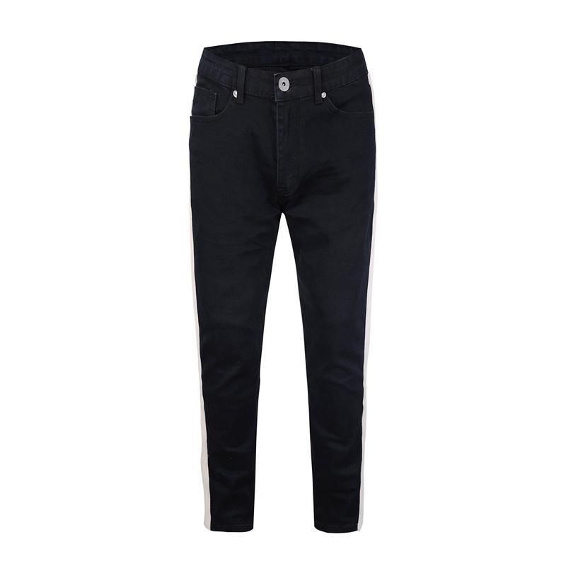 2dc736582 Compre 2018 Nova Moda Branco Listra No Lado Calças Jeans Homens De Alta  Qualidade Calça Jeans Masculina Algodão Preto Azul De Ziron, $145.21    Pt.Dhgate.Com