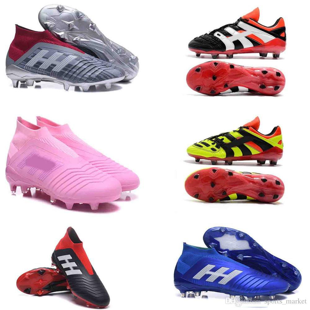 6a2f7cdbc 2019 2018 High Quality Predator 18+ 18.1 FG Soccer Cleats Chaussures De  Football Mens High Top Soccer Shoes Predator Accelerator Electricity Hot  From ...