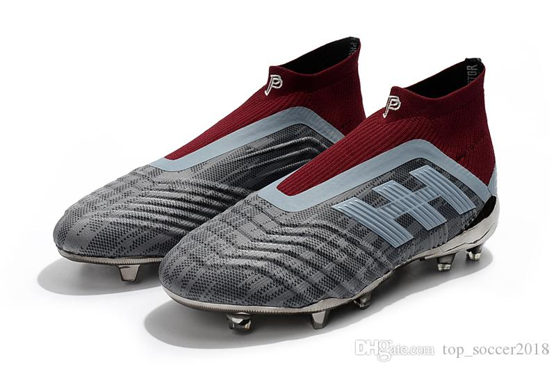 2019 Grey Red Children Soccer Cleats Laceless Pogba Predator 18+ FG Outdoor  Kids Soccer Shoes Slip On Original Women Football Boots From  Top soccer2018 1fd6ae400