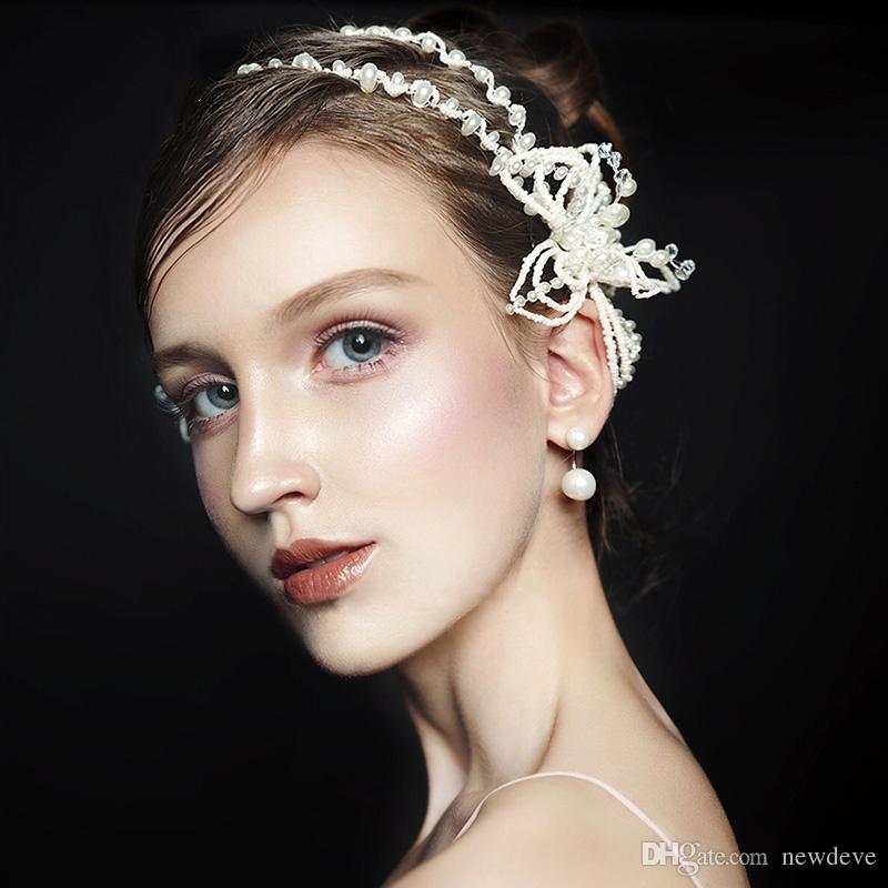2018 Bling Fatto a mano da sposa Accessori capelli Perle da sposa Copricapo Carine Ragazze Diademi Corone In magazzino