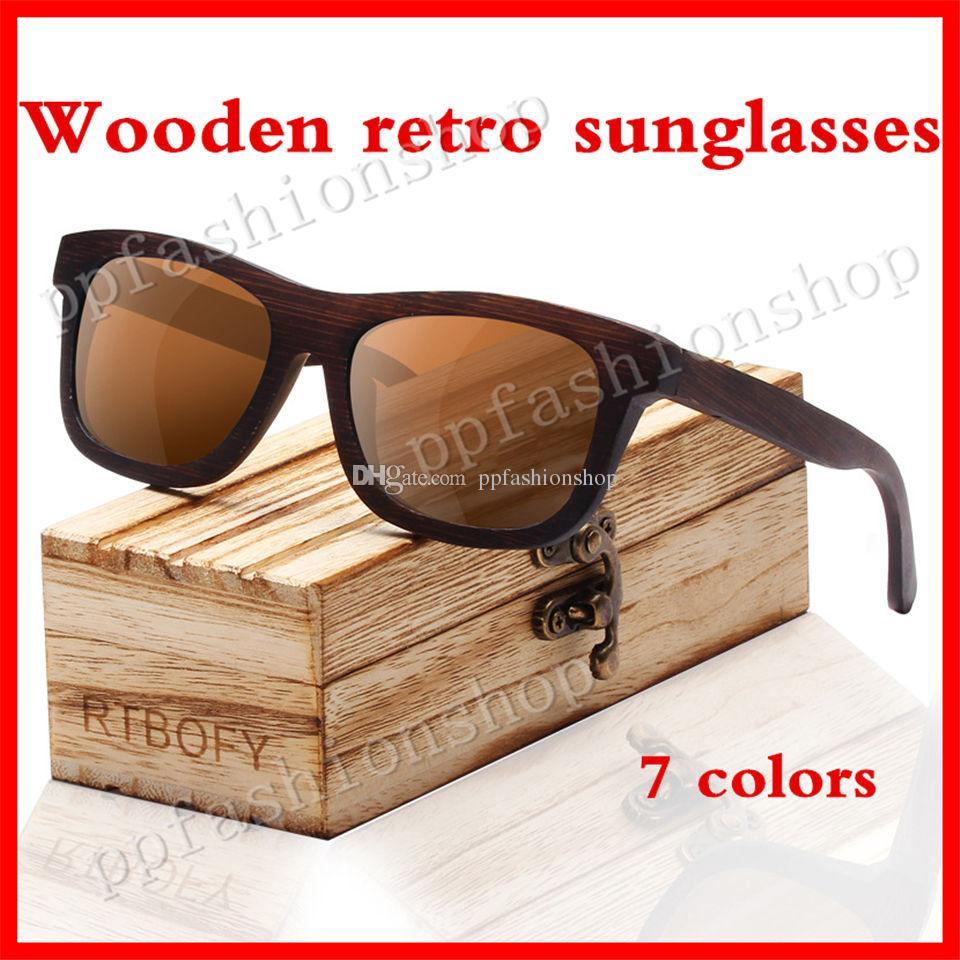 66e724ece191 ZB03 Wooden Sunglasses Retro Polarized Sunglasses Handmade Bamboo ...