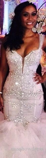 2018 Elegant Sexy Lace Mermaid Wedding Dresses Crystals Rhinestone Spaghetti Straps Puffy Backless Bridal Gowns Plus Size Vestidos De Noiva