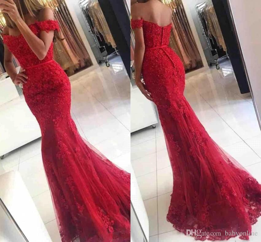 2019 New Red Lace Mermaid Prom Evening Dresses Elegant Off The Shoulder Lace Appliques Floor Length Formal Party Gowns BA3809
