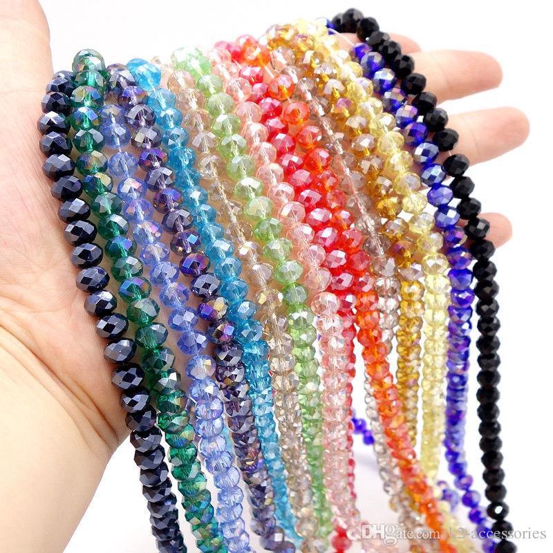 AB Multicolor ABACUS Cristal de cristal Cuentas sueltas Facetadas Collar Pulsera Colores Colores Joyas