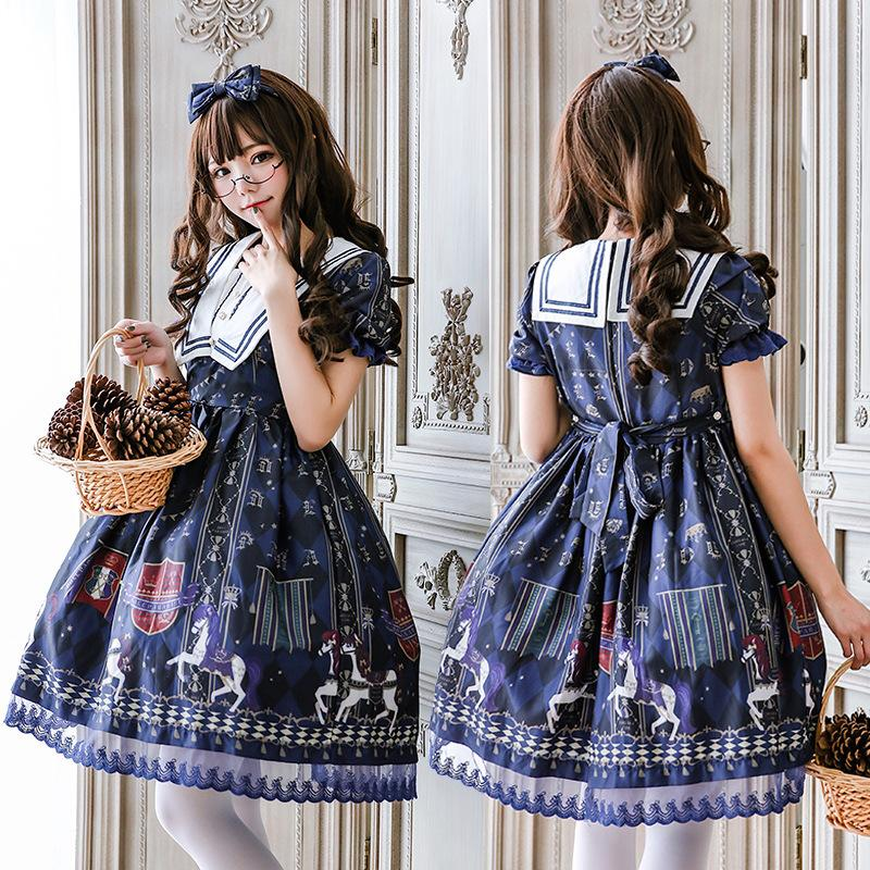 5c00faa186a Japanese Style Girl Lolita Dress Blue Sailor Collar Kawaii Girls Carousel  Printed Princess Maid Costume Dress Any Size Family Themed Costumes For  Halloween ...