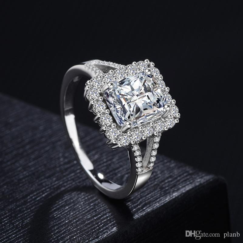 Grosshandel Neu 2018 Damen Hochzeit Ring 925 Silber Mit Grossen