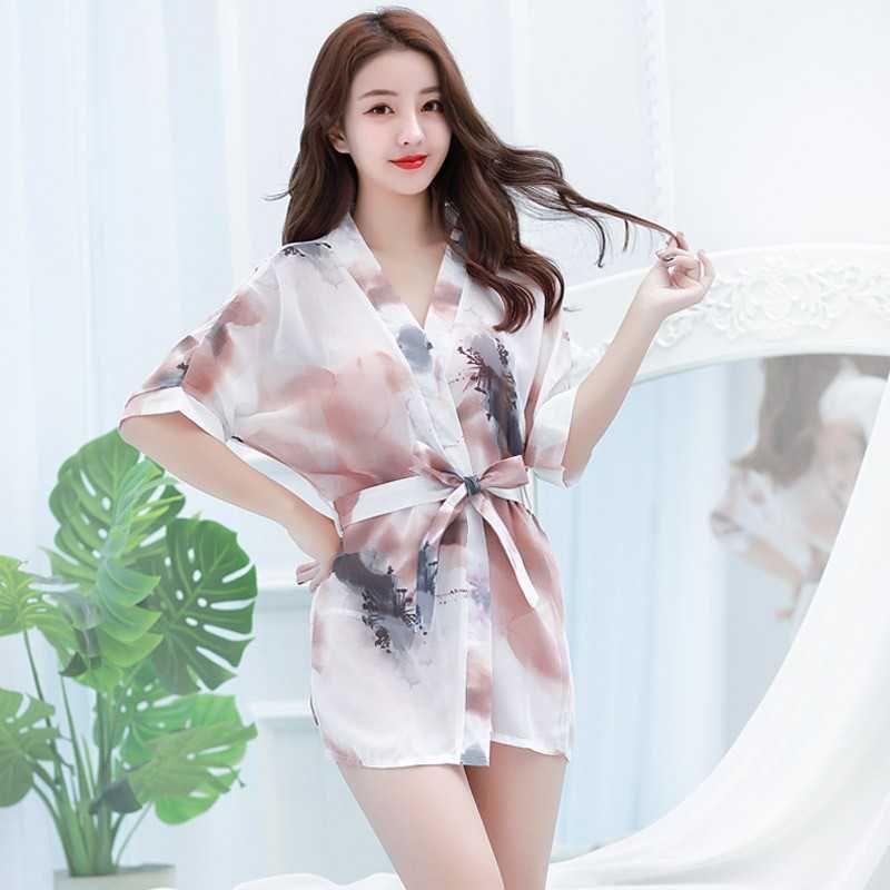 dfb48b7d11 2019 New Sexy Lingerie Cosplay Chiffon Underwear Women S Temptation Large  Size Pajamas Transparent Print Kimono Nightgown Bathrobe From Wo115588