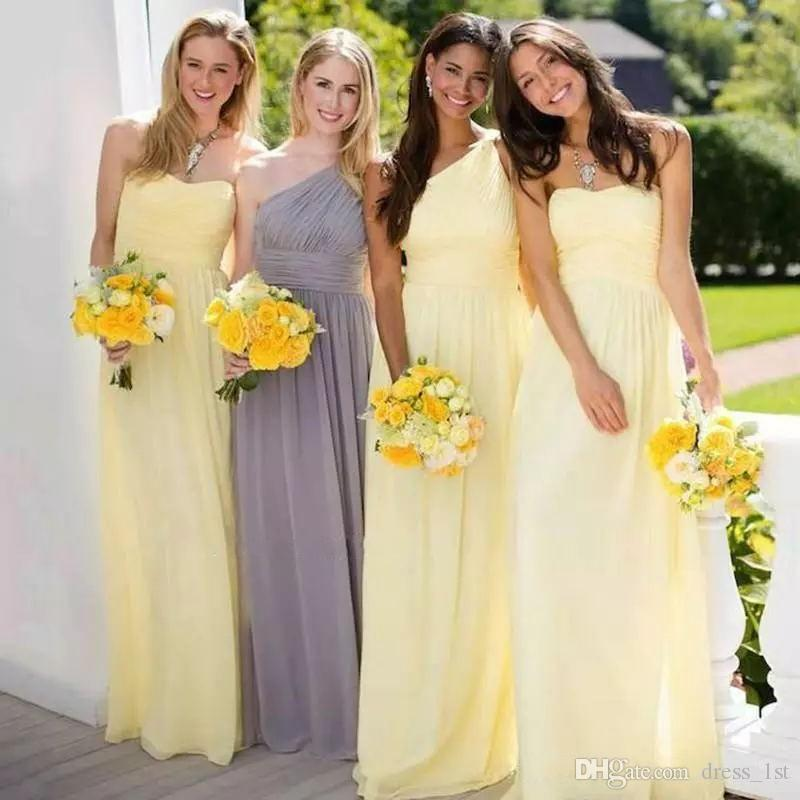 a3b749e708 Spring 2019 Yellow Bridesmaid Dresses Mix And Match Styles A Line Floor  Length Chiffon Maid Of Honor Dresses For Weddings Stunning Bridesmaid  Dresses Black ...