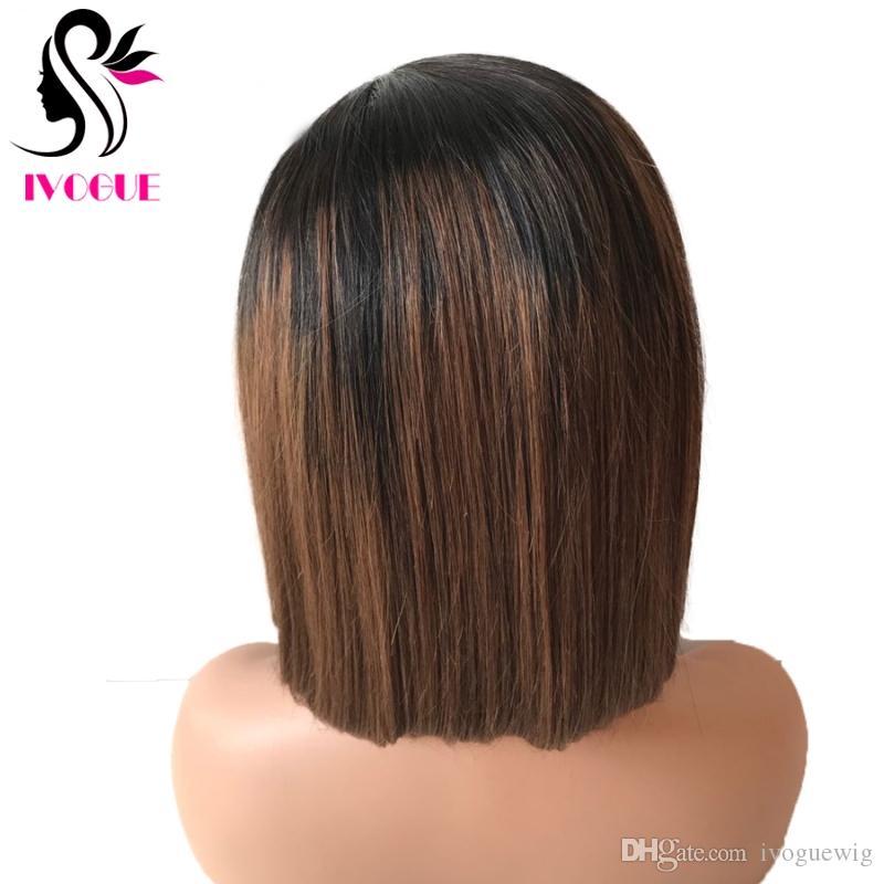 براون أومبير الإنسان الشعر الكامل الدنتلة الباروكة العذراء الهندي الشعر غير المتكافئة قصيرة بوب الدانتيل الجبهة الباروكة لأفريقيا أمريكا النساء