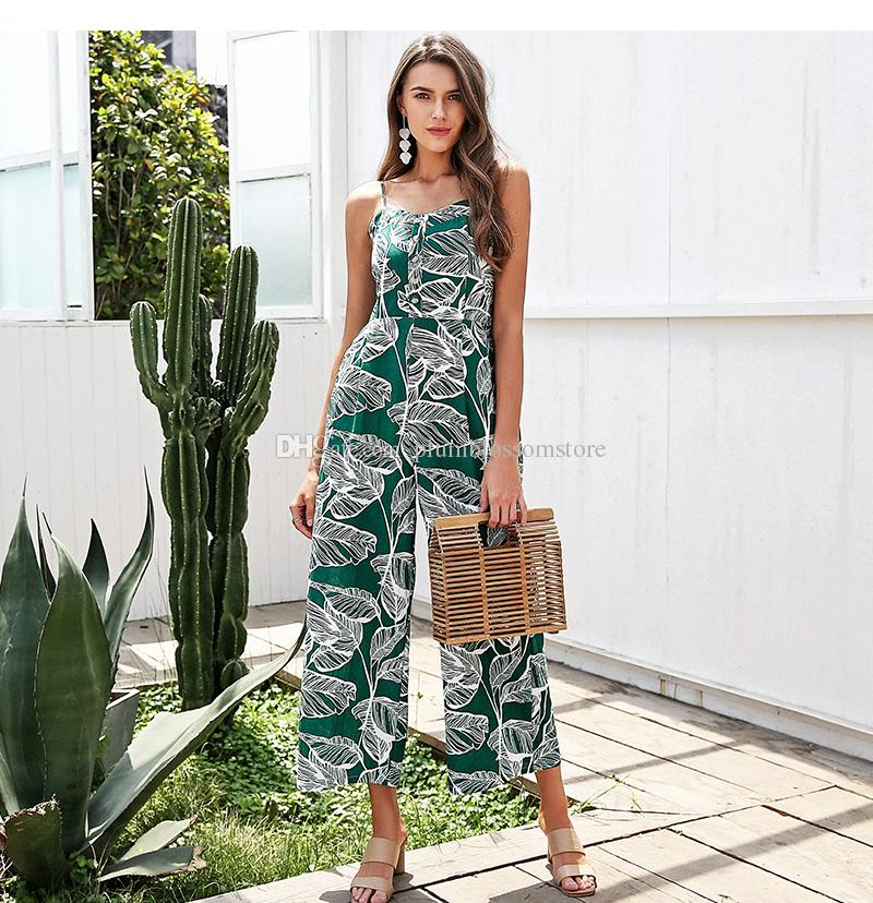 82d7717a80 2019 Strap Tropical Jumpsuit Romper Women Smocking Button Wide Leg Summer  Jumpsuit 2018 Chic Beach Casual Floral Print Bohemian Overall Playsuit From  ...