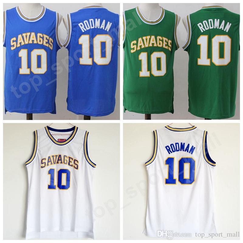 size 40 4feaf 9e3d9 High School Dennis Rodman College Jerseys 10 Basketball Oklahoma Savages  Jersey Men Color Blue White Green Breathable University Uniforms