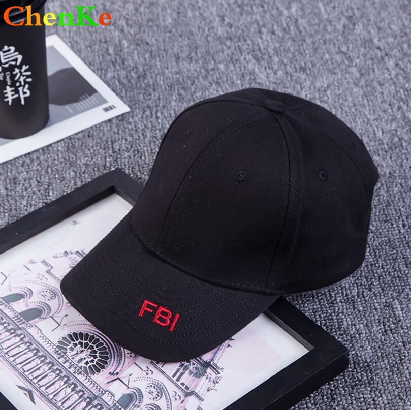 b0eeec9fe ChenKe Fashion Cap Women Men Summer Cotton Caps Women Solid FBI Letter  Embroidery Baseball Cap Black White Hat Snapback Men