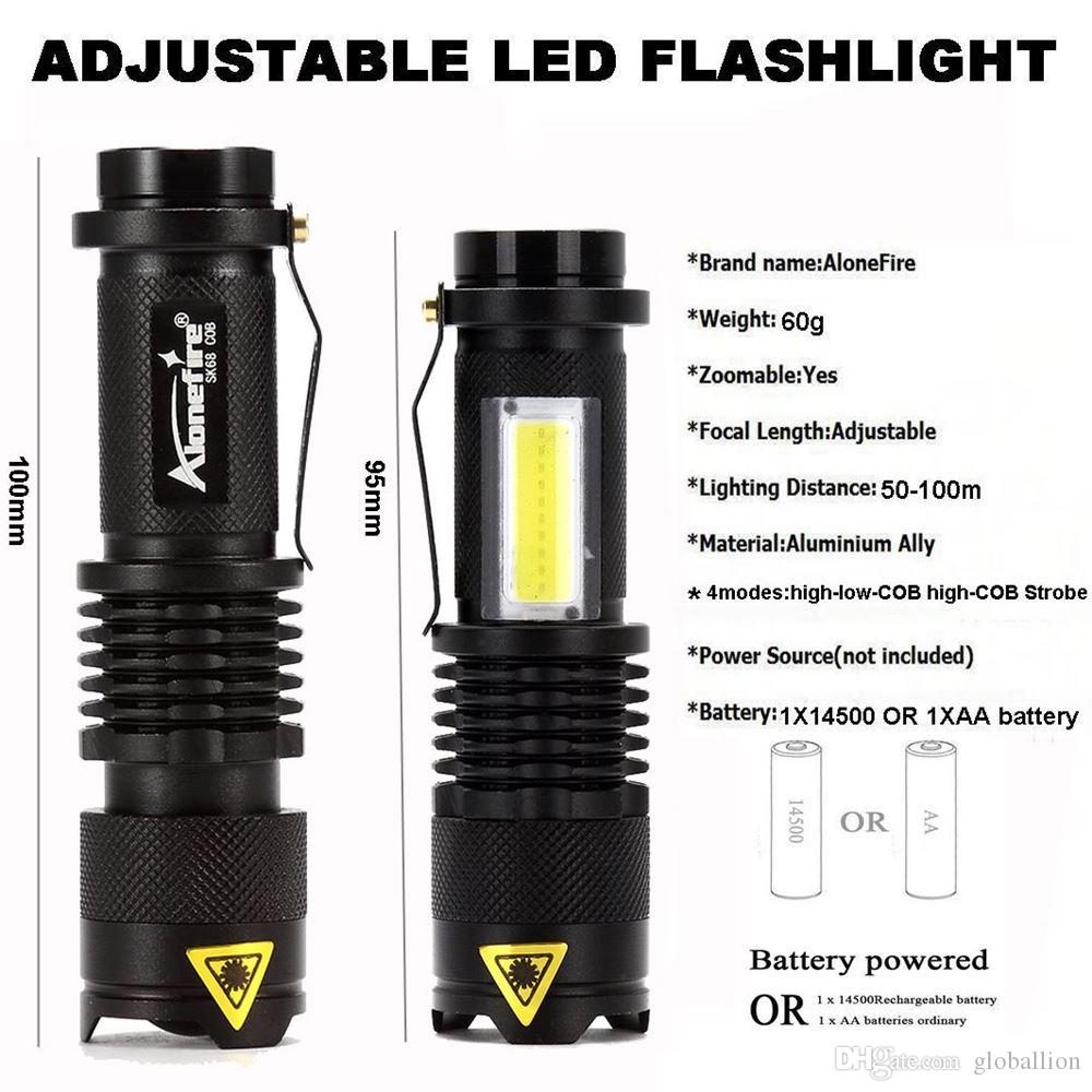New Mini Flashlight 2000 Lumens CREE SK68 COB Q5 LED Torch AA/14500 Adjustable Zoom Focus Torch Lamp Penlight Waterproof For Outdoor