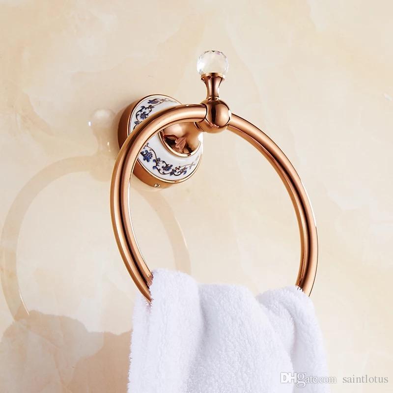 Gül tanrı Pirinç Havlu Tutucu Banyo Raf Havlu Askısı Askıları Lüks Banyo Aksesuarları Duvara Monte Havlu Bar