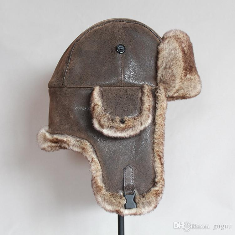 Mens\homme pu leather faux fur thick warm chapka russe hombre winter wind-proof cool-proof aviator caps\ushanka\gorro ruso for brother\lover