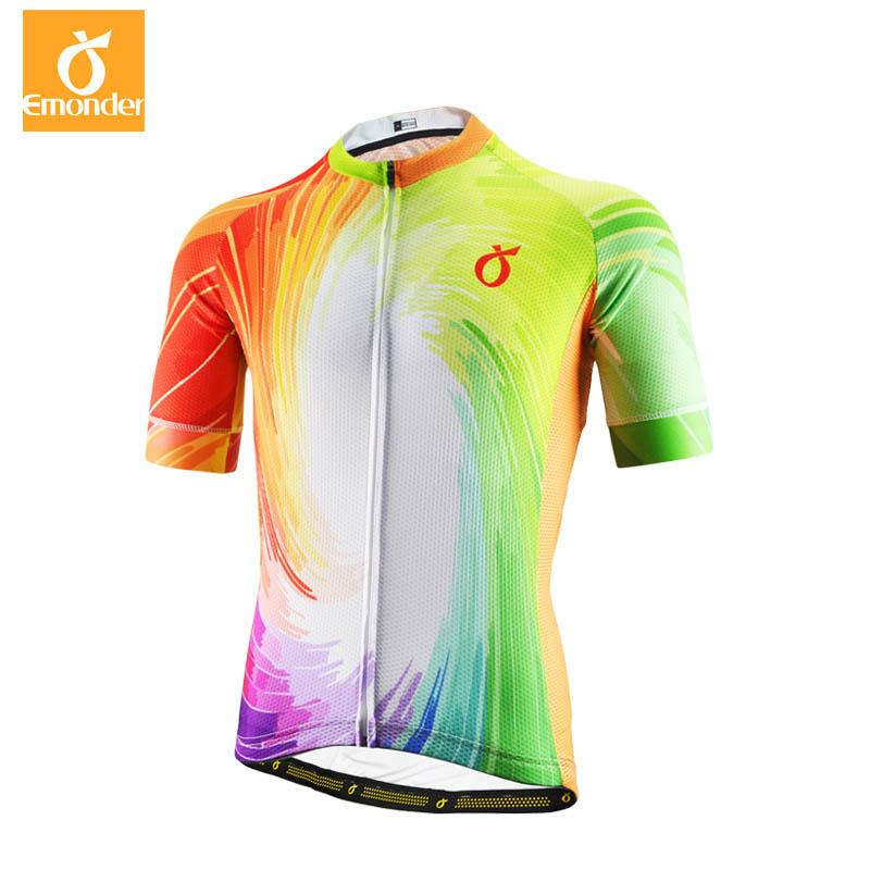 EMONDER Men Cycling Jersey Tour France MTB Road Bike Jersey Breathable Downhill Bicycle Clothing Racing Shirt Ropa Ciclismo