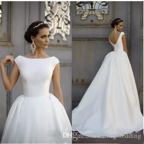 cc22bfa79f Discount Satin A Line Wedding Dress 2019 Boat Jewel Neck Ruched Draped Cap  Sleeves V Back Plus Size Custom Bridal Gowns Simple Wedding Dress Long  Sleeve ...