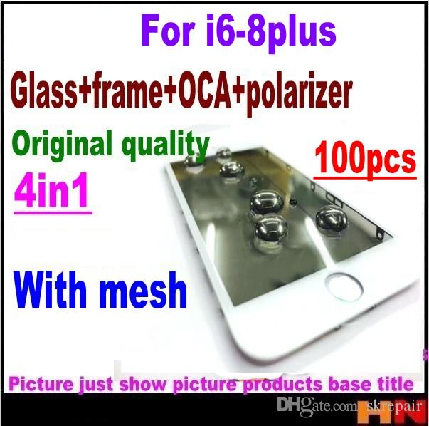 100pcs DHL wholesale Earpiece mesh 4in1 Cold Press For iPhone 8 7 6 6s plus  Front Glass Frame OCA Polarizer Screen Replacement