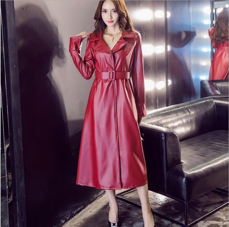 381d79c0d60 2019 Ladies Leather Trench Fashion Black Red Sexy Long Leather Jacket Coat  Women Jackets Women Slim Fit Long Coat From Masue