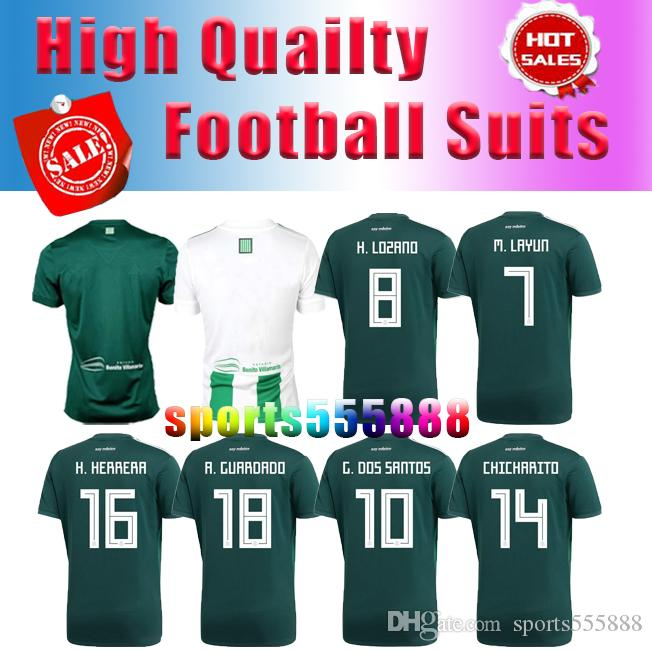2018 World Cup Thailand MEXICO Home Green Soccer Jerseys CHICHARITO ... b071a330f