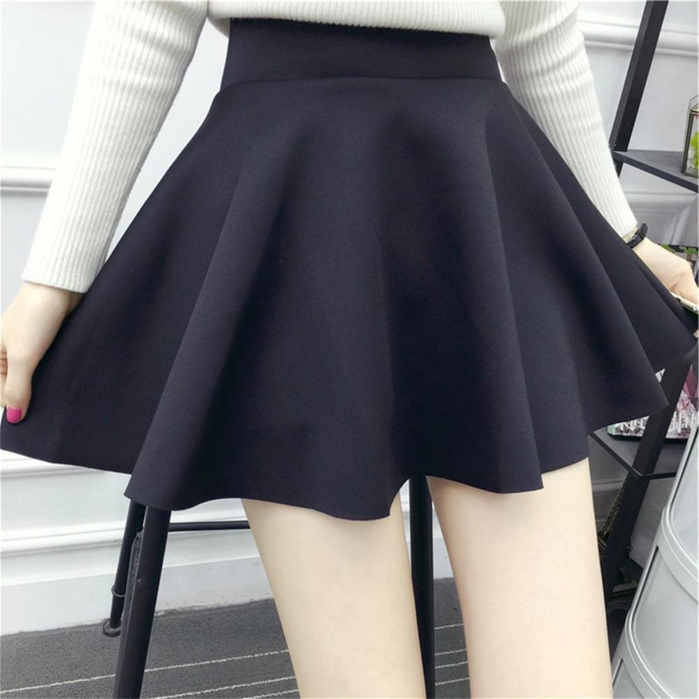 0ec51d43e50c Korean High-Waisted Solid Color Frauen Mini Faltenrock Stretch Large Swing  Rock Frauen Mädchen Über Knie Länge Böden