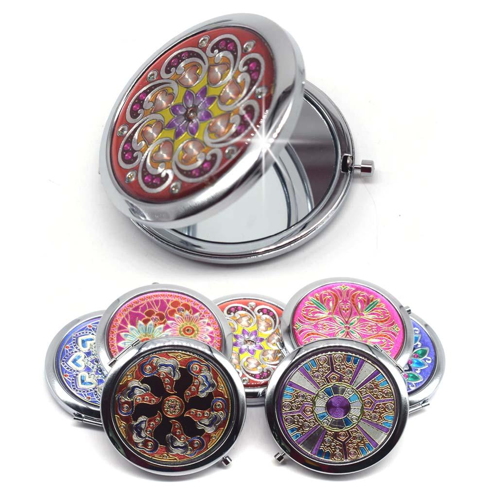 Portable Foldable Pocket Metal  Compact Mirror Woman Cosmetic Mini Beauty Normal Magnifying Mirror Double Sides Mirrors