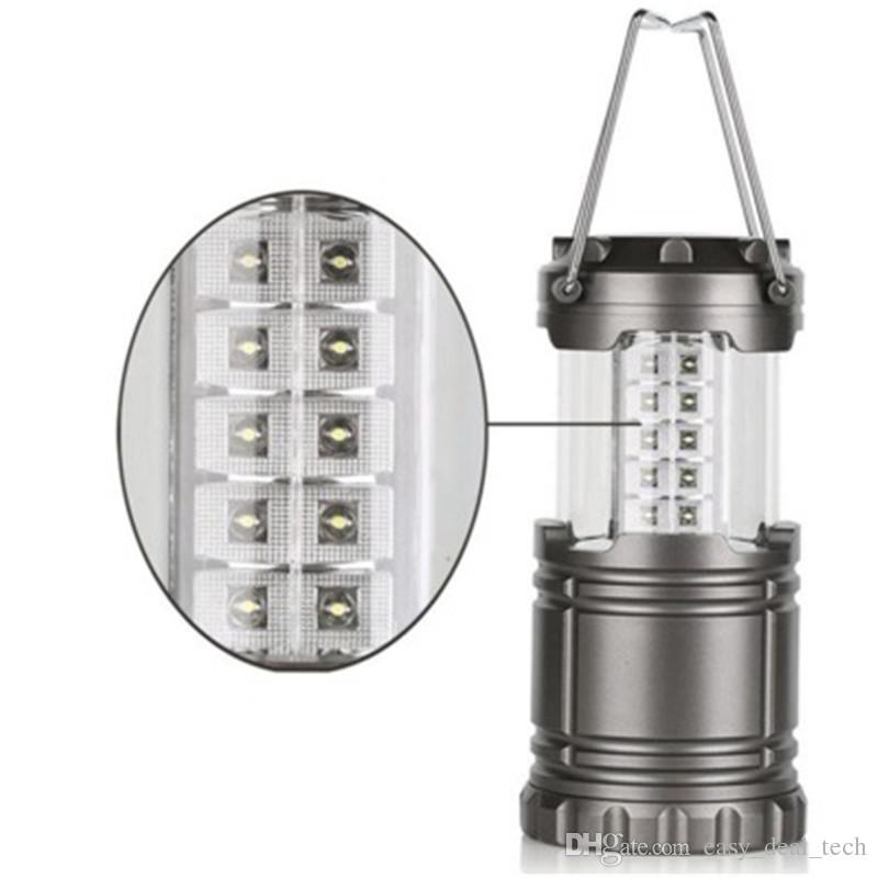 Cinza Super Brilhante Leve 30 LED Camping Lanterna Luzes Ao Ar Livre Portátil À Prova D 'Água Acampamento Lâmpada de Iluminação Q0714