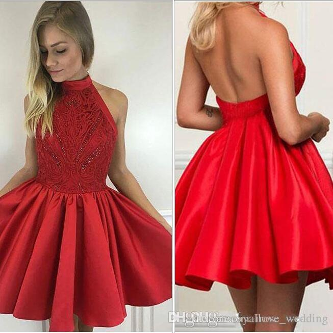 721c0de184e5 Sexy Red Halter Mini Prom Dress A Line Lace Top Low Back Ruched Satin Short  Part Evening Gowns Mini Homecoming Dress Custom Cheap Red Prom Dresses  Cheap ...