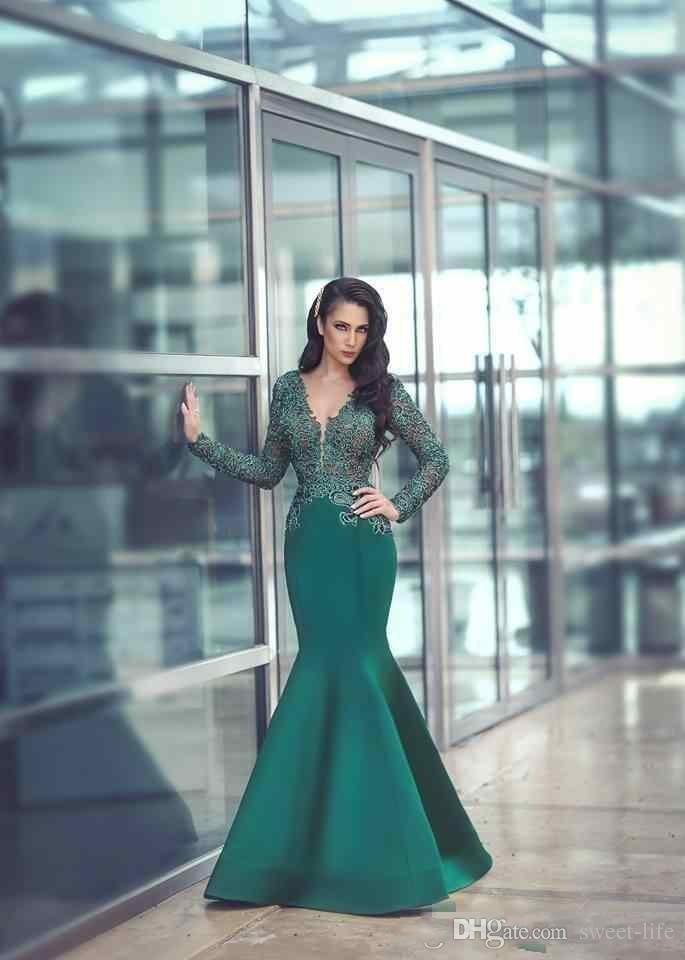 2018 new sexy verde esmeralda vestidos de baile com decote em v manga comprida ilusão sereia rendas apliques de cetim frisado evening dress baratos vestidos de festa