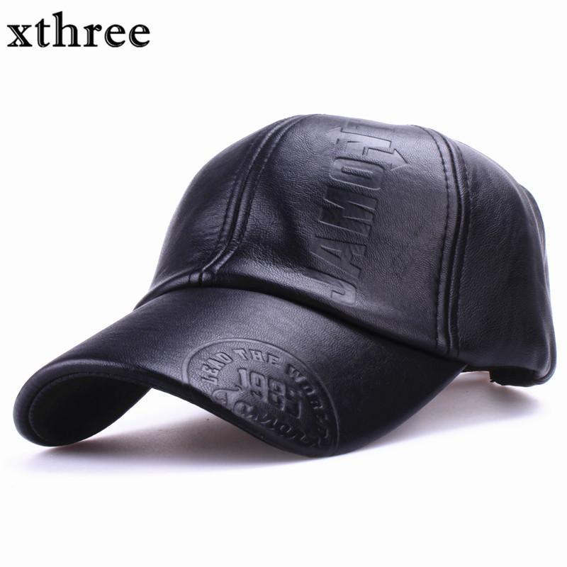 Compre Xthree Nueva Moda De Alta Calidad Otoño Invierno Hombres Sombrero De  Cuero Cap Sólido Casuales Snapback Sombrero Hombres S Gorra De Béisbol Al  Por ... 87e34fee213