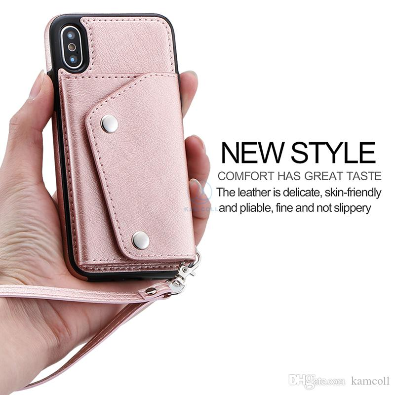 Wallet PU Leather Case For iPhone 8 7 6 6S Plus Wallet Back Cover Pouch with Card Slots Side Pocket for Samsung note8 S8