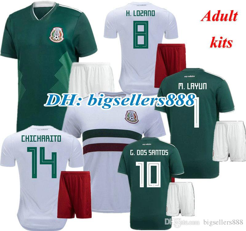 9892d3fc0 CHICHARITO G DOS SANTOS 2018 World Cup Mexico Home Soccer Jersey ...