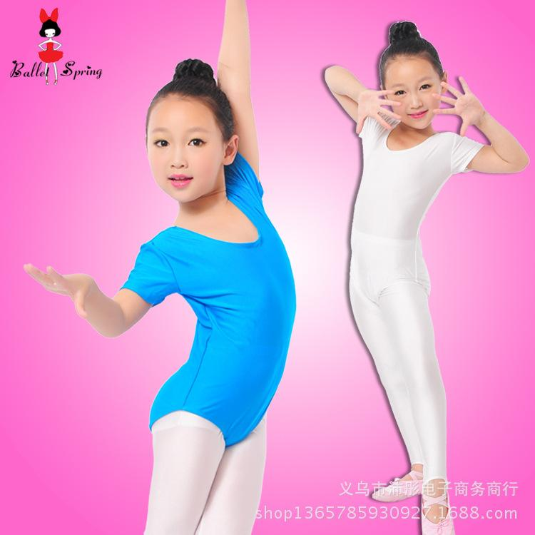 f4a3cafbf91a Girls Ballet Bodysuit Children Blue White Dance Leotard Short ...