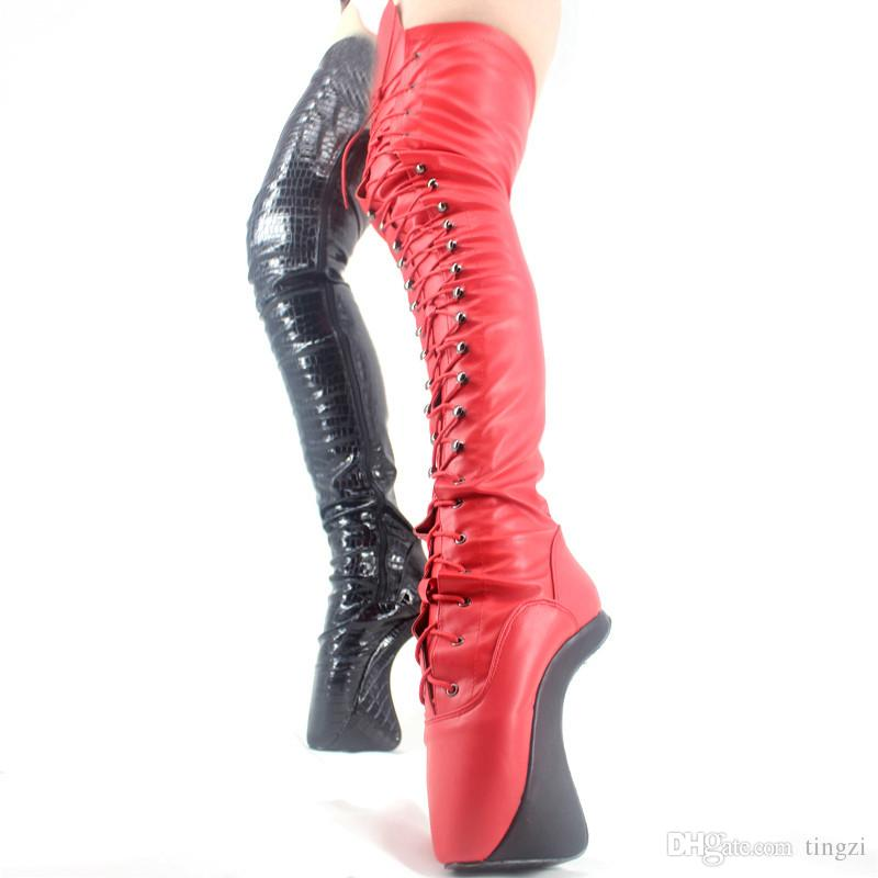 Women Boots Sexy Fetish Ballet Boots 18CM Heelless Lace-Up Over The Knee Zipper Motorcycle Boots For Woman