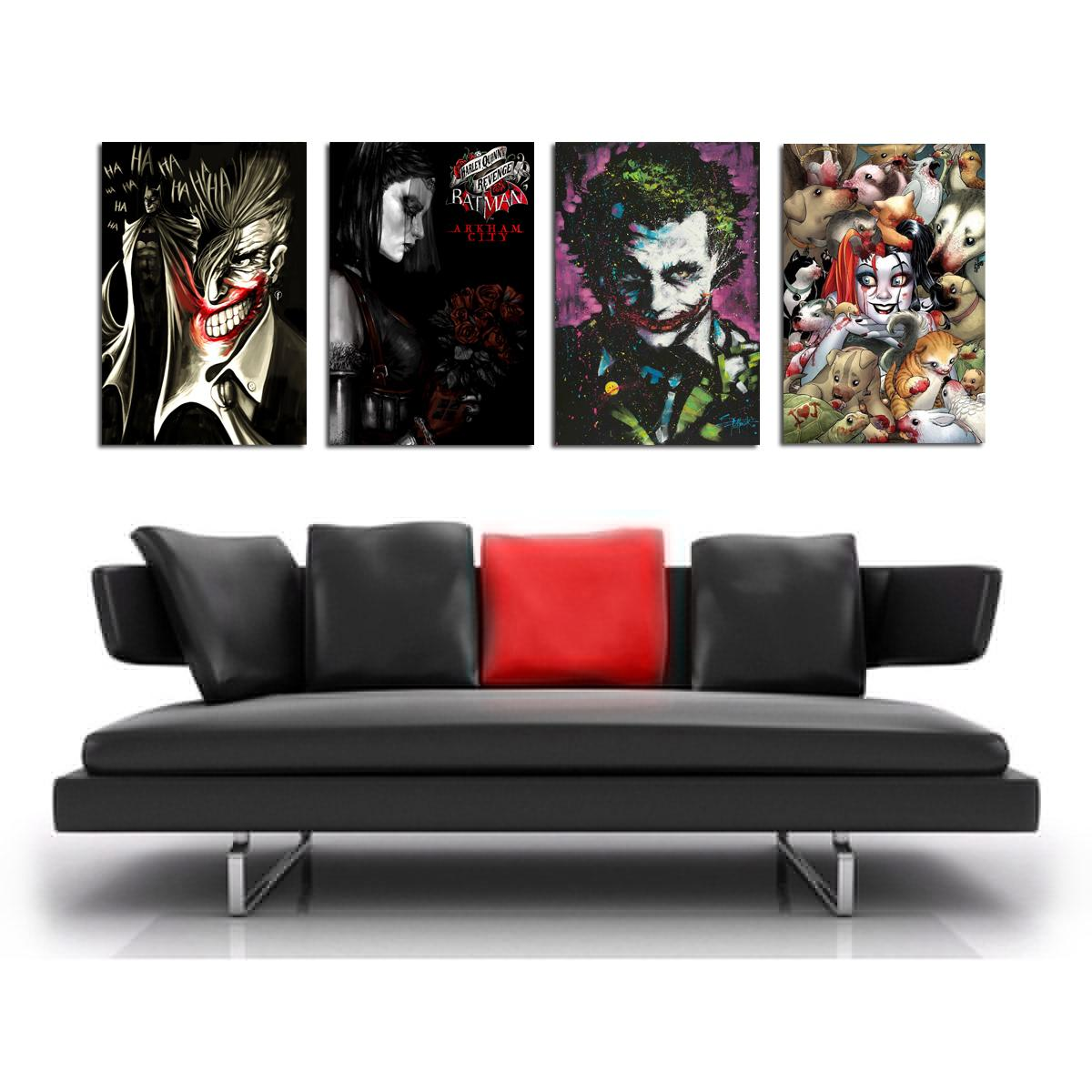 Batman joker Harley Quinn -3,4 Pieces Canvas Prints Wall Art Oil Painting Home Decor (Unframed/Framed)