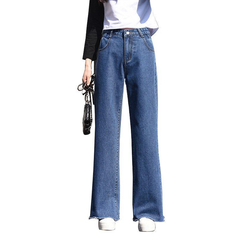 784c690aeb9b Frauen elastische Taille breites Bein beiläufige Jeans lose gerade  Denim-Hosen-Knopf-Damen-Mode-Ganzkörperansicht-Hose