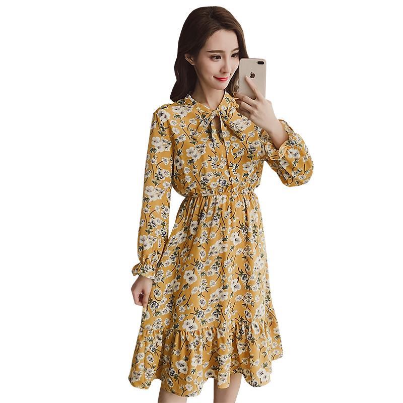 c90120a96a 2019 2018 Spring New Korean Version Print Dress Small Fresh Floral ...