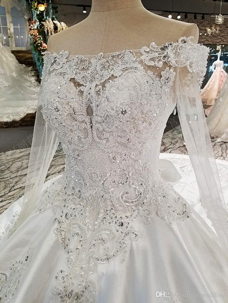 Luxury White Off Shoulder Sleeves Applique Beads Ball Gown Wedding Dresses Bridal Dresses Events Dresses Custom Size 6 8 10 12 W306048