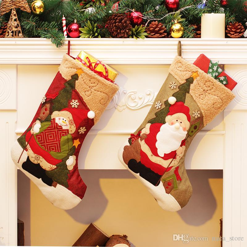 good quality christmas decorations christmas stocking gift bag candy apple bags wrap long stockings socks for festive party decoration of christmas gift