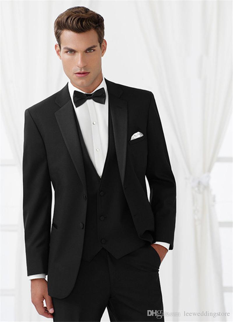 8d16701c5 Custom Made 2018 Black Wedding Suits For Man Slim Fit Fashion ...