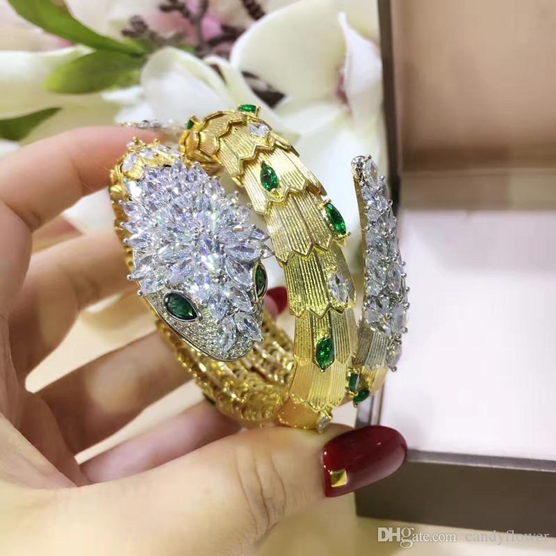 Новый дизайнер Лучшее качество 2 обруча красная / зеленая змея CZ с бриллиантами вымощенный браслет-манжета для животных браслет из 18-каратного золота PUNK для женщин