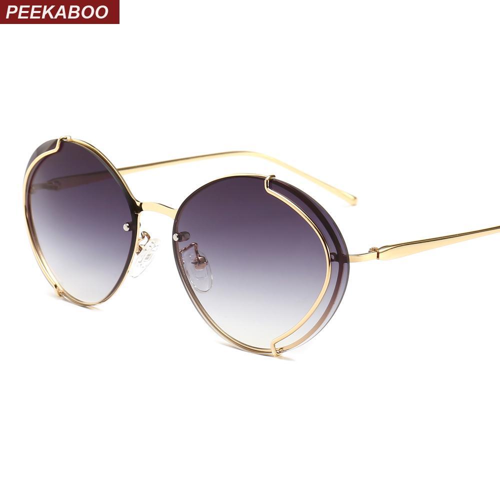 fa76a8945f Compre Peekaboo Vintage Gafas De Sol Ovaladas Mujeres De Moda 2019 Marco De  Metal Dorado Gafas De Sol Para Las Mujeres Uv400 Marrón Rosa A $15.85 Del  ...
