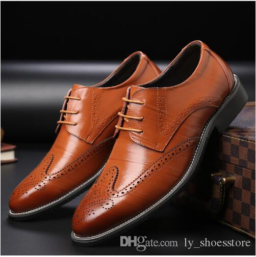 2018 Business Men Dress Shoes Handmade Pointed Toe Men Wedding Shoes  Leather Formal Shoes Flat Men Brogue Plus Size Dress Men Shoes Luxury Men  Shoes ... d86948a58dc8