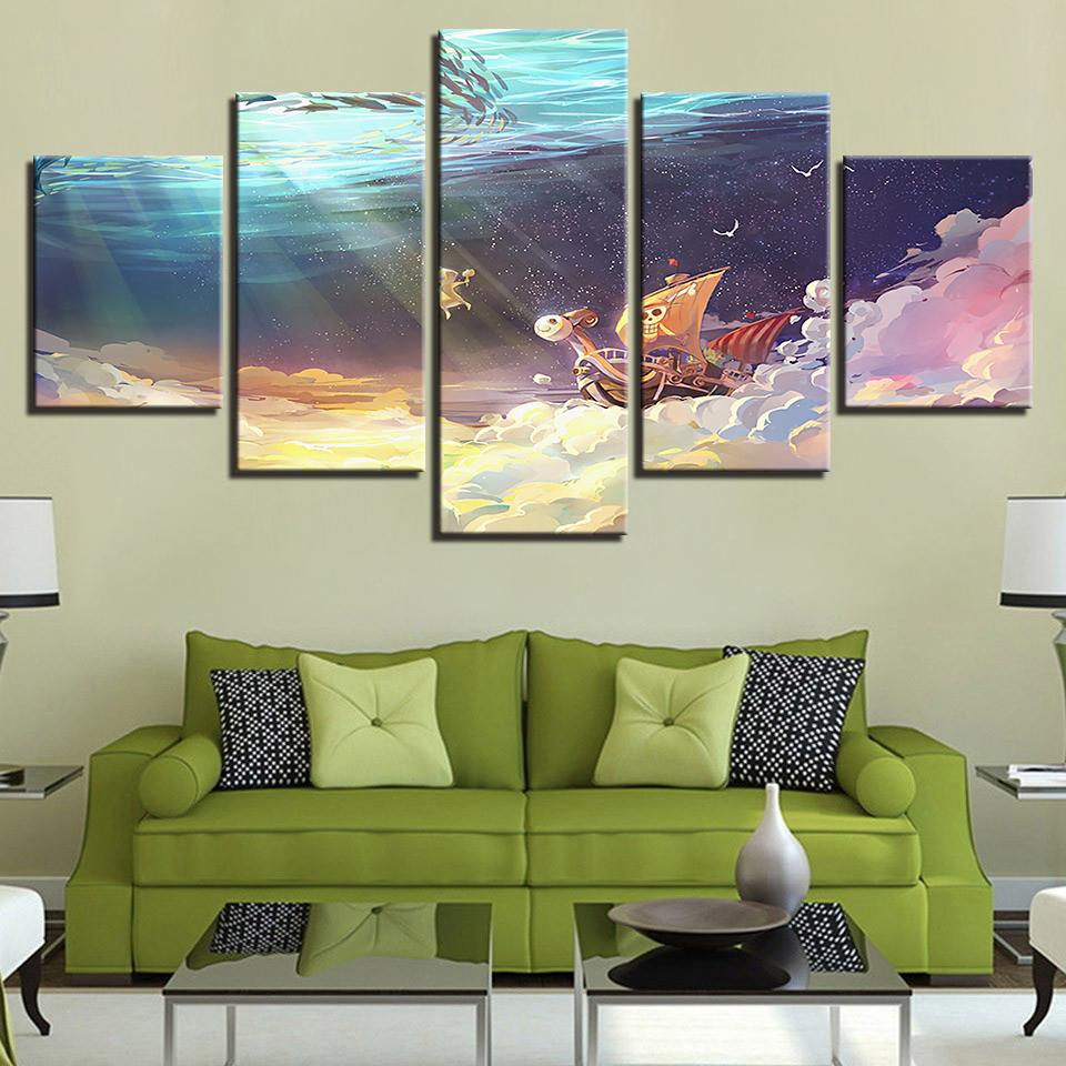 5 pieces canvas paintings anime one piece artwork picture home decor poster print wall art