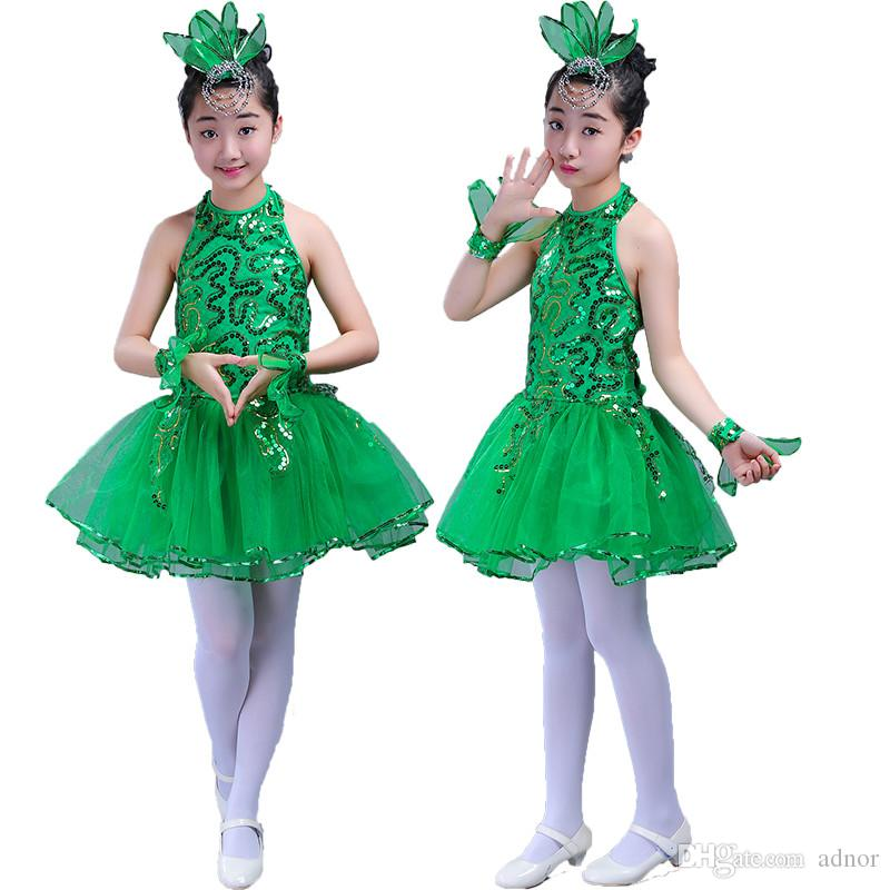 b1aedffc825c 2019 Girl Stage Dance Green Girls Ballet Dress For Children Girl Jazz Dance  Costumes For Girls Dance Girl Performance Costume Stage Dancewear From  Adnor, ...