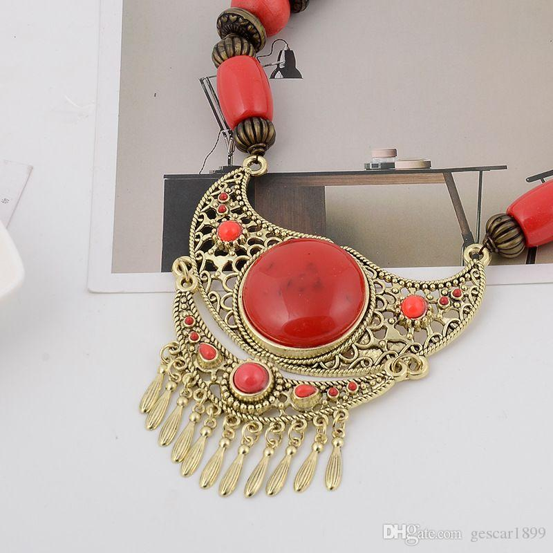 Hottest Style Bohemian Necklace Wholesale Jewelry Wooden Bead Tassels Pendant Necklace Neck Chain Alloy Clavicle Chain For Women