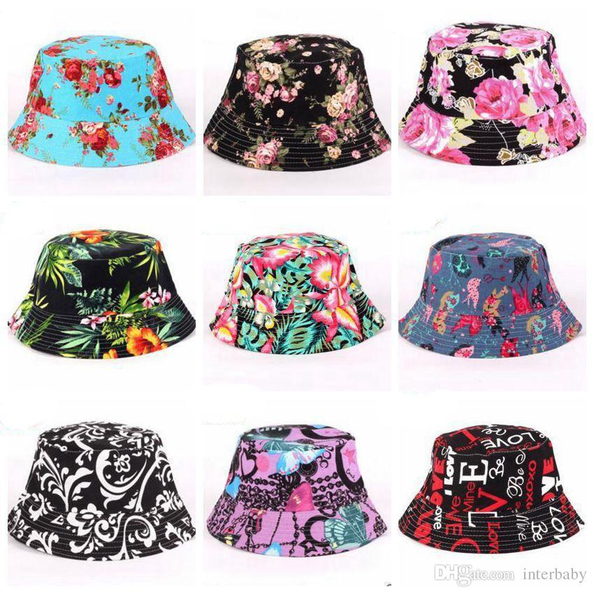 41b7bb04614 2019 Women Floral Grid Bucket Hat Lady Flower Printed Basin Canvas Topee  Casual Fisherman Caps Cotton Women Anti UV Beanie Caps 27 Designs HS2 From  ...