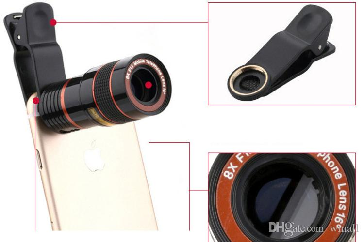 HD Mobile Phone camera Lens 8X Zoom Optical Telescope Camera Lens with Clips Universal All Phone For iPhone 7 Samsung Huawei Xiaomi LG